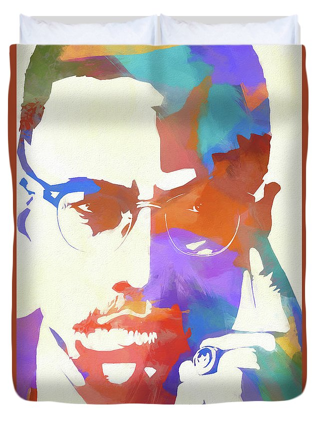 Colorful Malcolm X Duvet Cover featuring the painting Colorful Malcolm X by Dan Sproul
