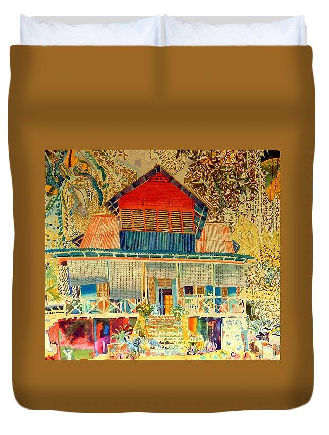 Art Duvet Cover featuring the photograph Colorful Mauritiun Cottage by John Potts