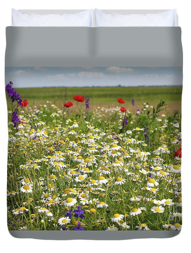 Camomile Duvet Cover featuring the photograph Colorful Meadow With Wild Flowers by Goce Risteski