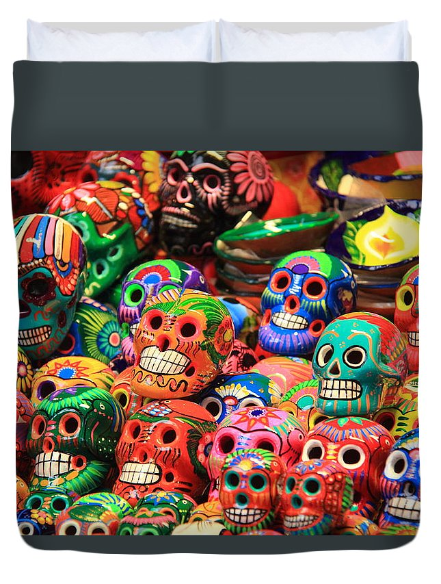 colorful mexican day of the dean ceramic skulls duvet cover for sale