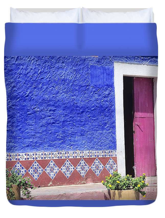 Architecture Duvet Cover featuring the photograph Colorful Mexico by Peter French - Printscapes