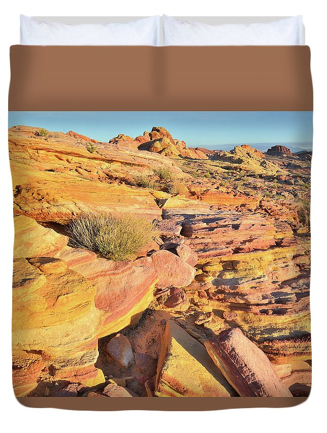 Valley Of Fire State Park Duvet Cover featuring the photograph Colorful Morning At Valley Of Fire by Ray Mathis