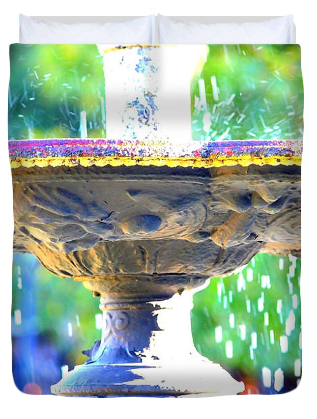 New Orleans Duvet Cover featuring the photograph Colorful New Orleans Fountain by Carol Groenen