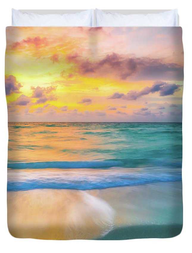 America Duvet Cover featuring the photograph Colorful Ocean Sky by DAC Photography