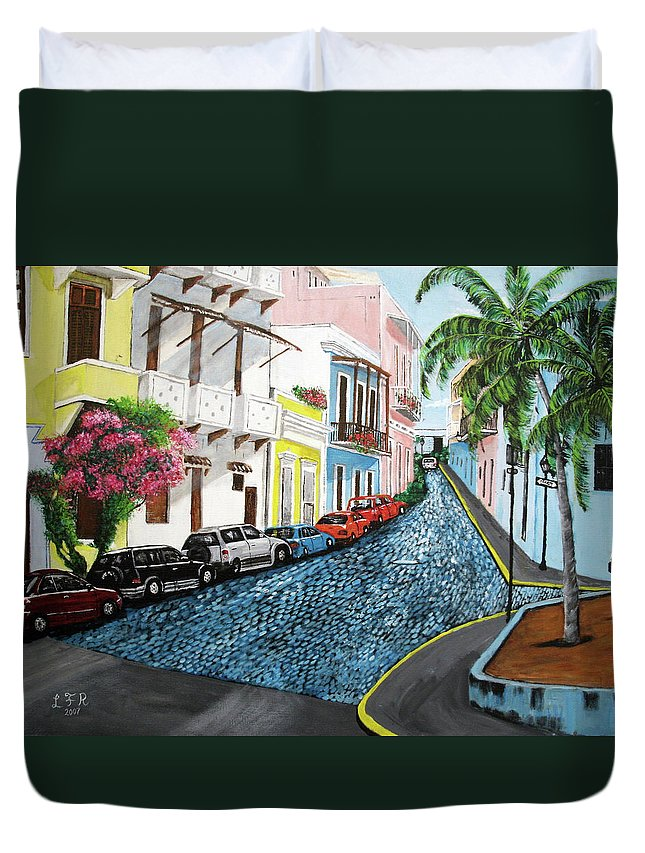 Old San Juan Duvet Cover featuring the painting Colorful Old San Juan by Luis F Rodriguez