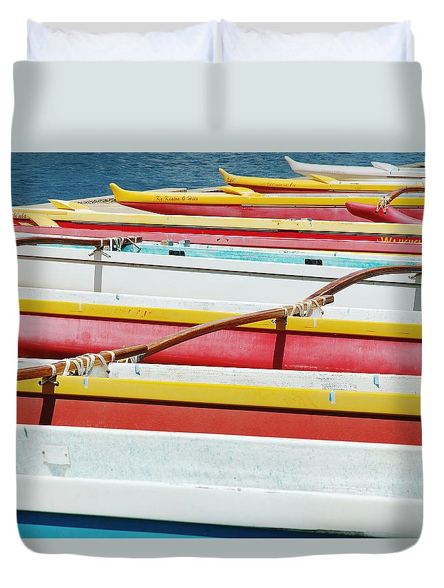 Afternoon Duvet Cover featuring the photograph Colorful Outrigger Canoes by Mary Van de Ven - Printscapes