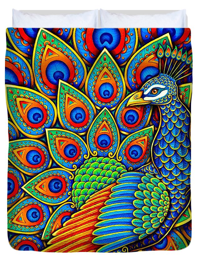 Peacock Duvet Cover featuring the drawing Colorful Paisley Peacock by Rebecca Wang