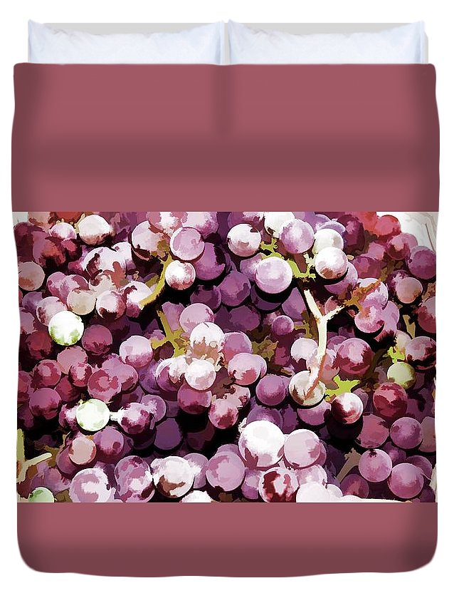 Basket Duvet Cover featuring the painting Colorful Pink Tasty Grapes In The Basket by Jeelan Clark