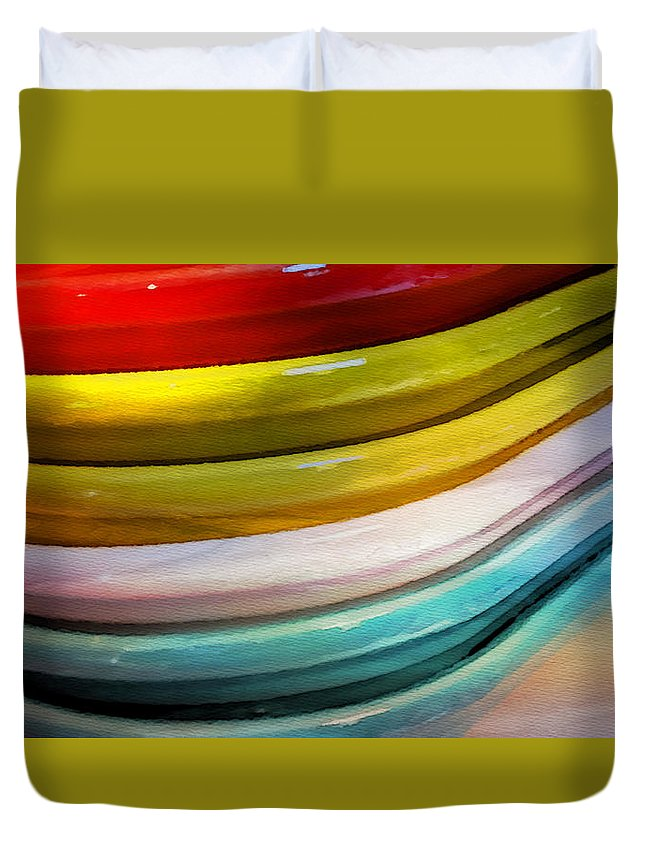 Colorful Duvet Cover featuring the painting Colorful Plates by Bonnie Bruno