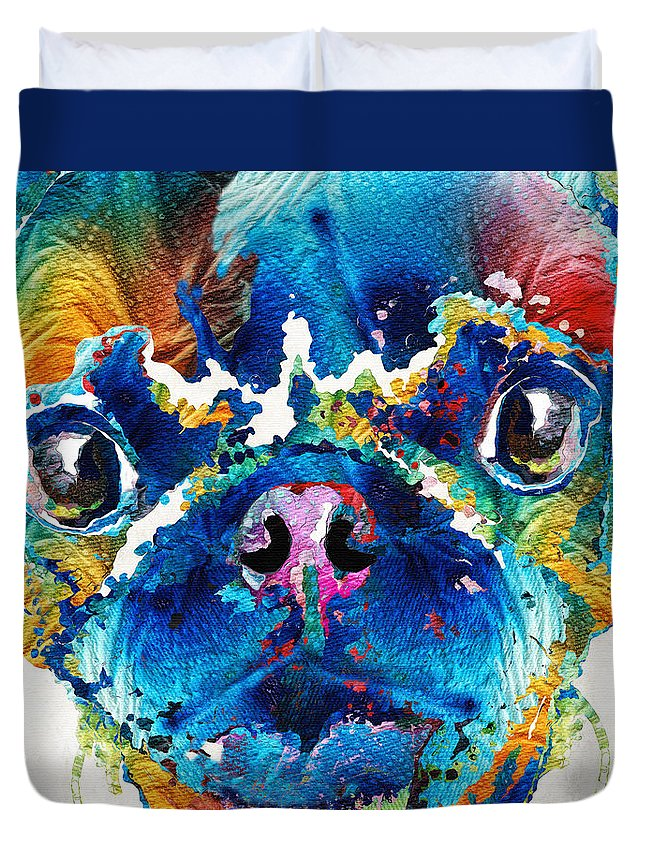 Pug Duvet Cover featuring the painting Colorful Pug Art - Smug Pug - By Sharon Cummings by Sharon Cummings