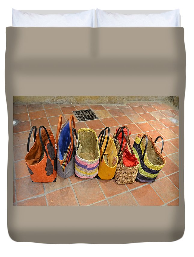 Colorful Duvet Cover featuring the photograph Colorful Purses by Dawn Crichton