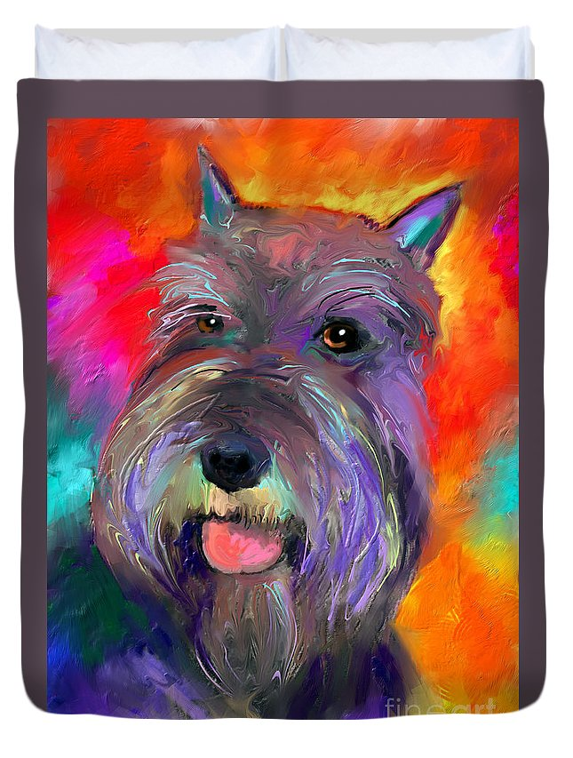 Schnauzer Dog Duvet Cover featuring the painting Colorful Schnauzer Dog Portrait Print by Svetlana Novikova
