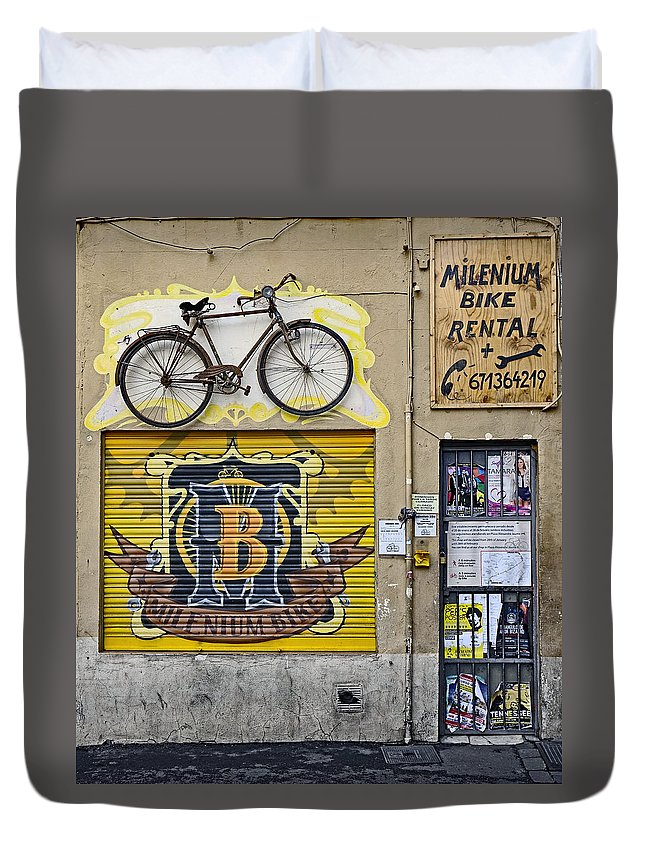 Signage Duvet Cover featuring the photograph Colorful Signage In Palma Majorca Spain by Richard Rosenshein