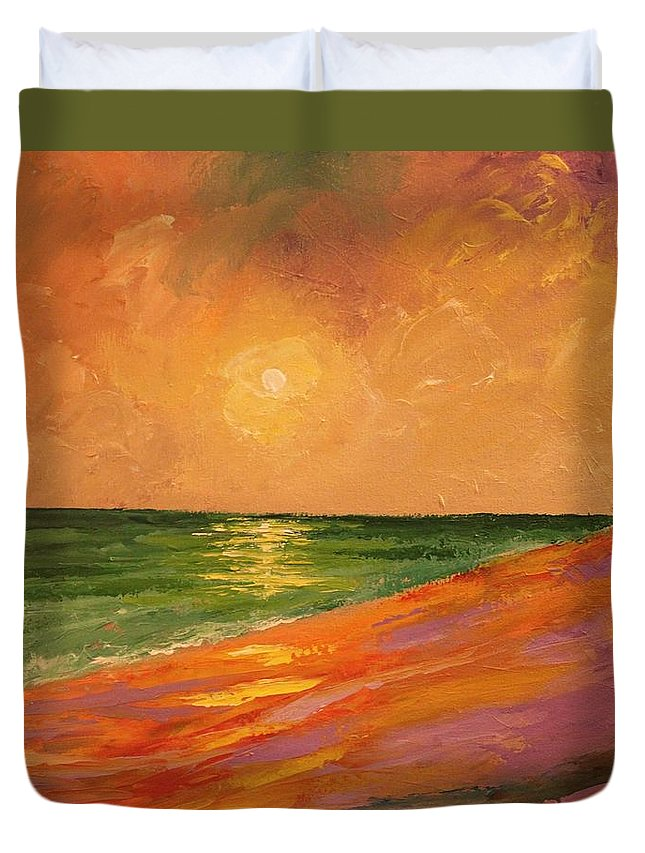 Colorful Duvet Cover featuring the painting Colorful Sunset by Angel Reyes