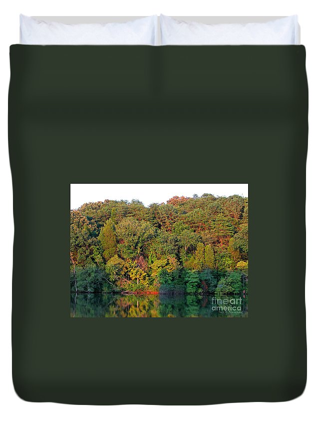 Landscape Duvet Cover featuring the photograph Colorful Sunset by Todd Blanchard