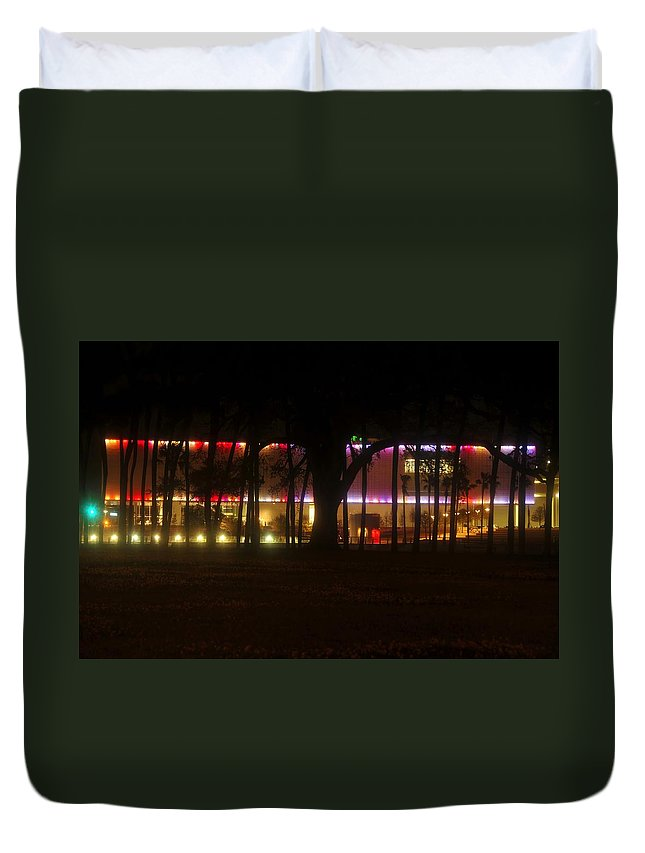 Tampa Bay Florida Duvet Cover featuring the photograph Colorful Tampa Bay Night by David Lee Thompson
