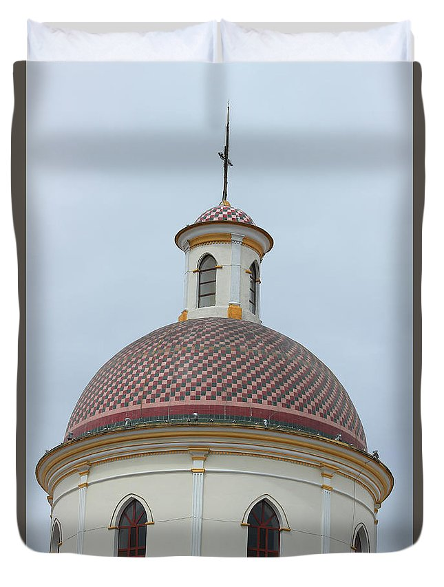 Church Duvet Cover featuring the photograph Colorful Tiles On A Church Dome by Robert Hamm