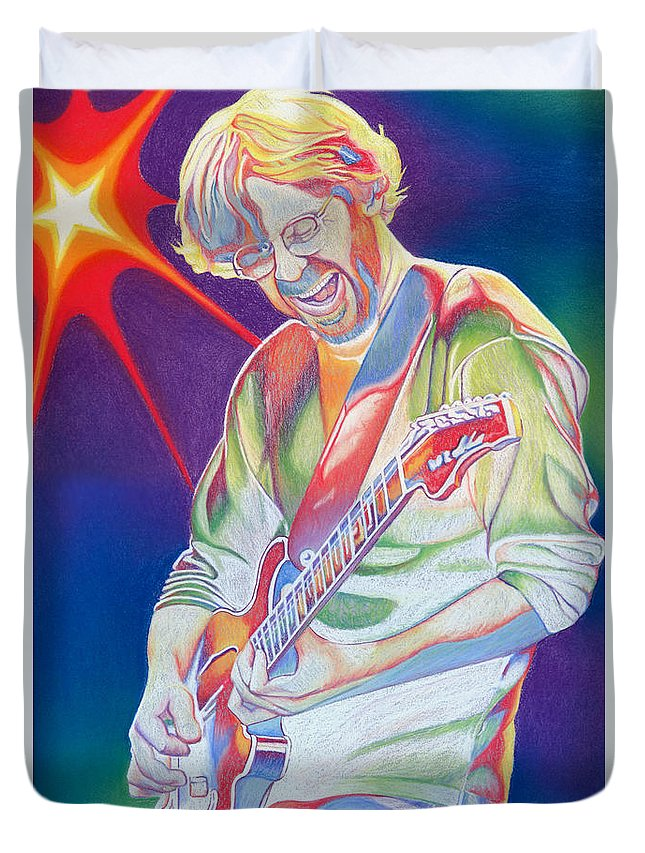 Phish Duvet Cover featuring the drawing Colorful Trey Anastasio by Joshua Morton
