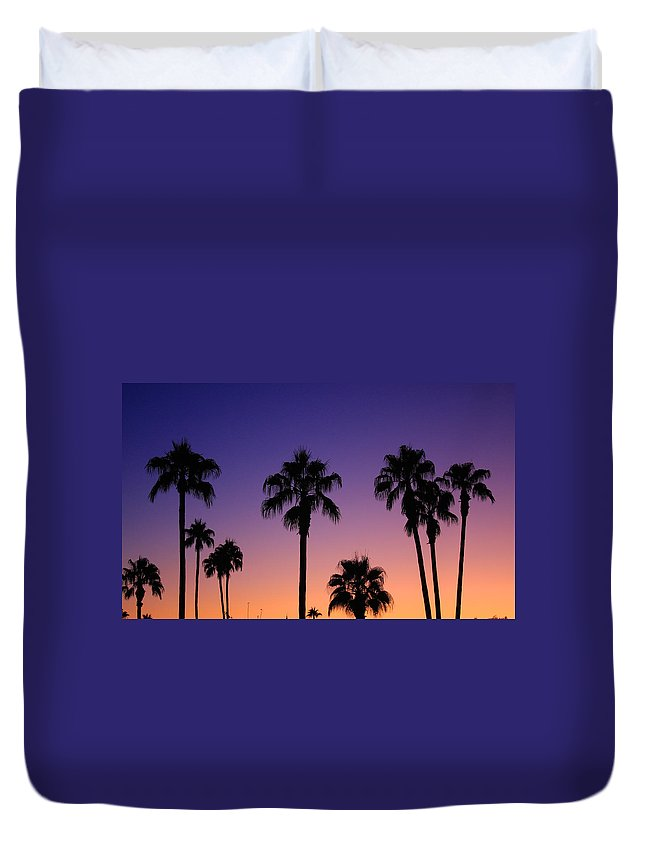 Sunsets Duvet Cover featuring the photograph Colorful Tropical Palm Tree Sunset by James BO Insogna