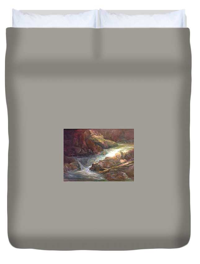 Stream Mountain Duvet Cover featuring the painting Colorful Water Flow by Irene Braun