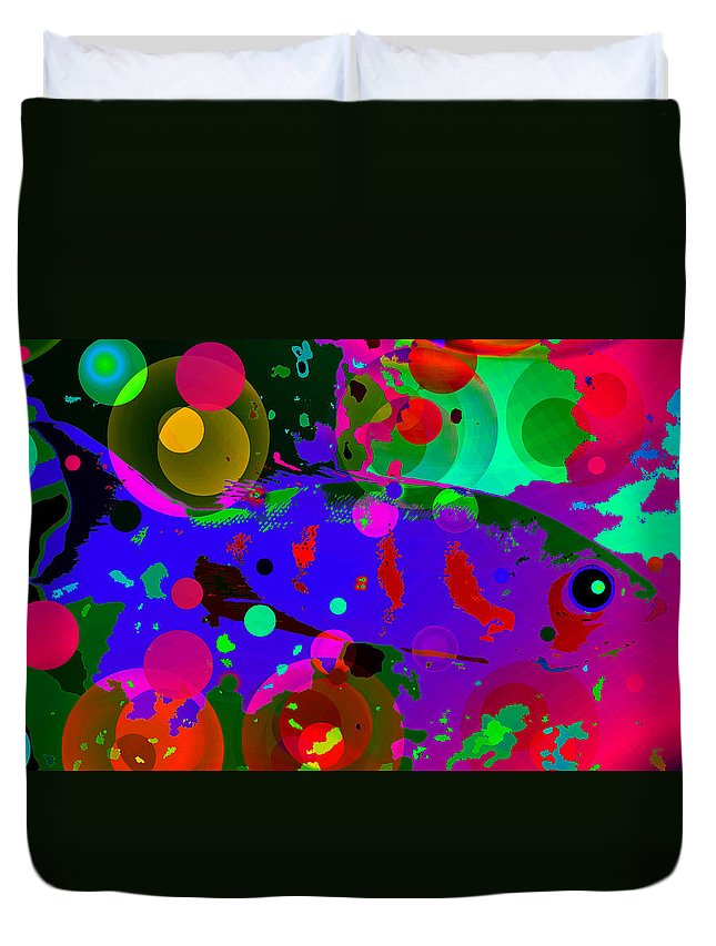 Tropical Fish Duvet Cover featuring the painting Colorful World Of A Fish by David Lee Thompson