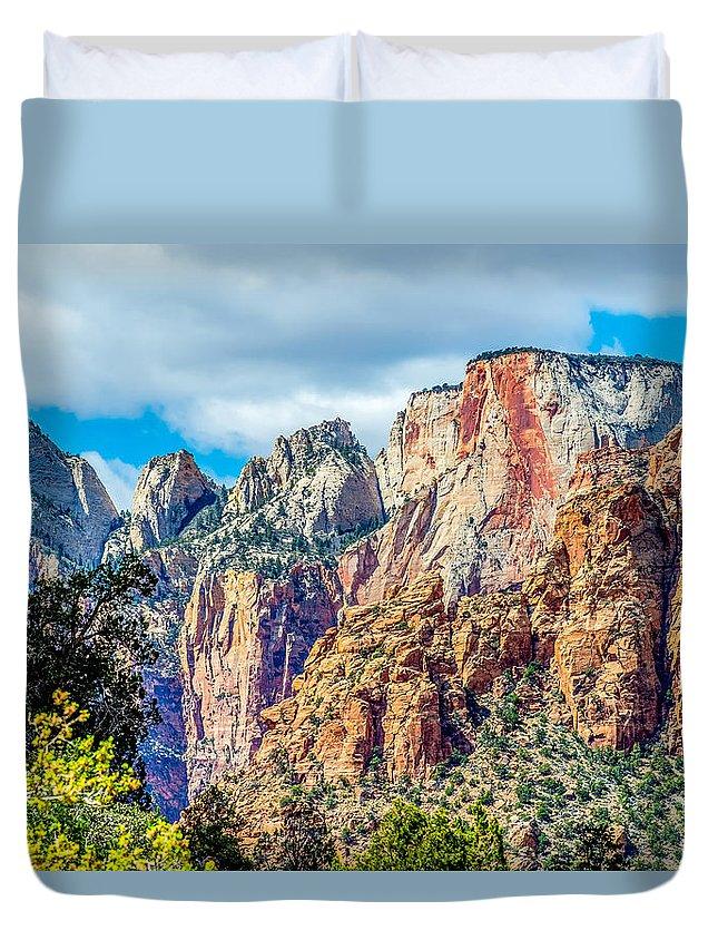 Park Duvet Cover featuring the photograph Colorful Zion Canyon National Park Utah by Alex Grichenko