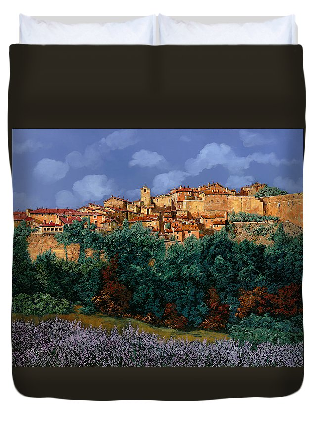 Provence Duvet Cover featuring the painting colori di Provenza by Guido Borelli