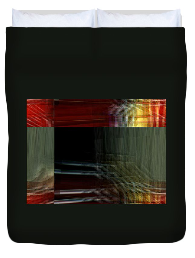 Abstract Duvet Cover featuring the digital art Colors Along The River Abstract by Lenore Senior