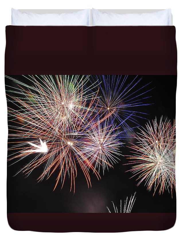 Fireworks Duvet Cover featuring the photograph Colors by Glenn Gordon