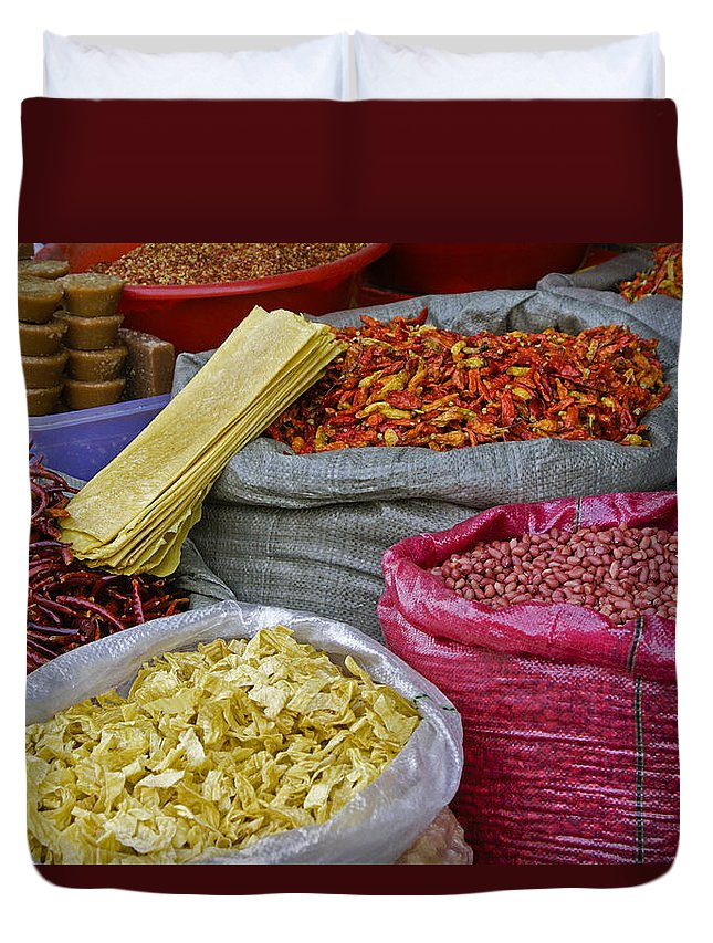 Asia Duvet Cover featuring the photograph Colors In A Chinese Market by Michele Burgess