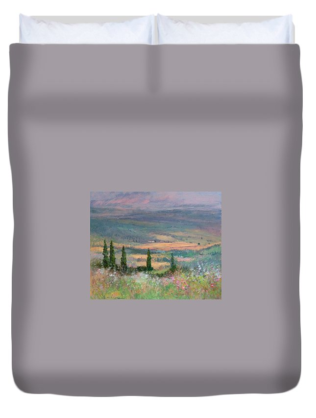 Painting Duvet Cover featuring the painting Colors In Tuscany by Biagio Chiesi