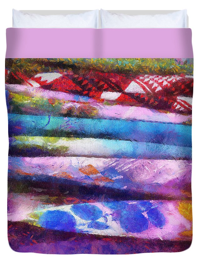 Sunset Duvet Cover featuring the mixed media Colors Material Horizontal Pa 02 by Thomas Woolworth