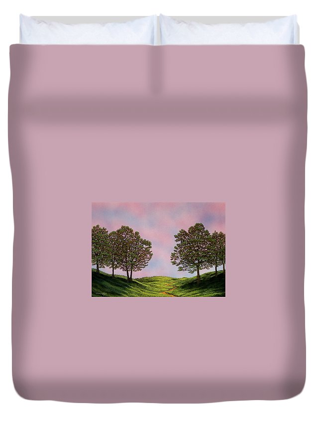 Landscape Duvet Cover featuring the painting Colors Of Dawn by Frank Wilson