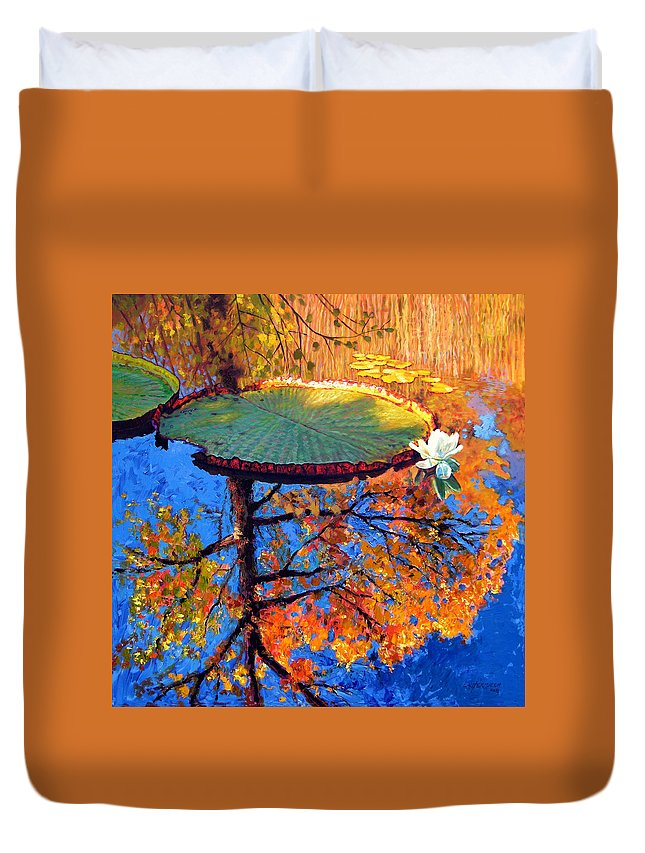Fall Duvet Cover featuring the painting Colors Of Fall On The Lily Pond by John Lautermilch