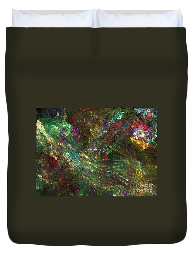 Fractals Duvet Cover featuring the digital art Colors Of Light by Richard Rizzo