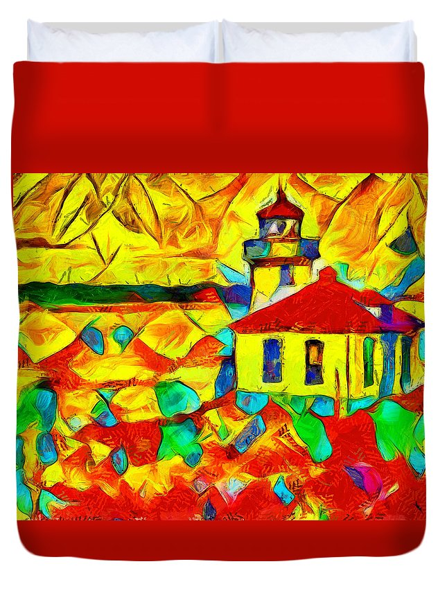 Colors Of Lime Kiln Lighthouse Duvet Cover featuring the painting Colors Of Lime Kiln Lighthouse by Dan Sproul