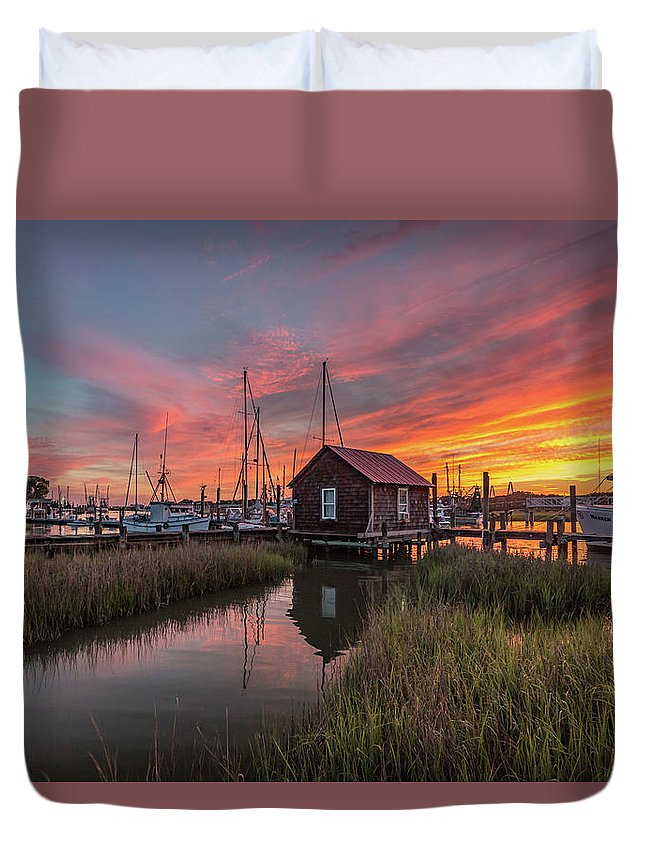 Shem Creek Duvet Cover featuring the photograph Colors Of Shem Creek - Mt. Pleasant Sc by Donnie Whitaker