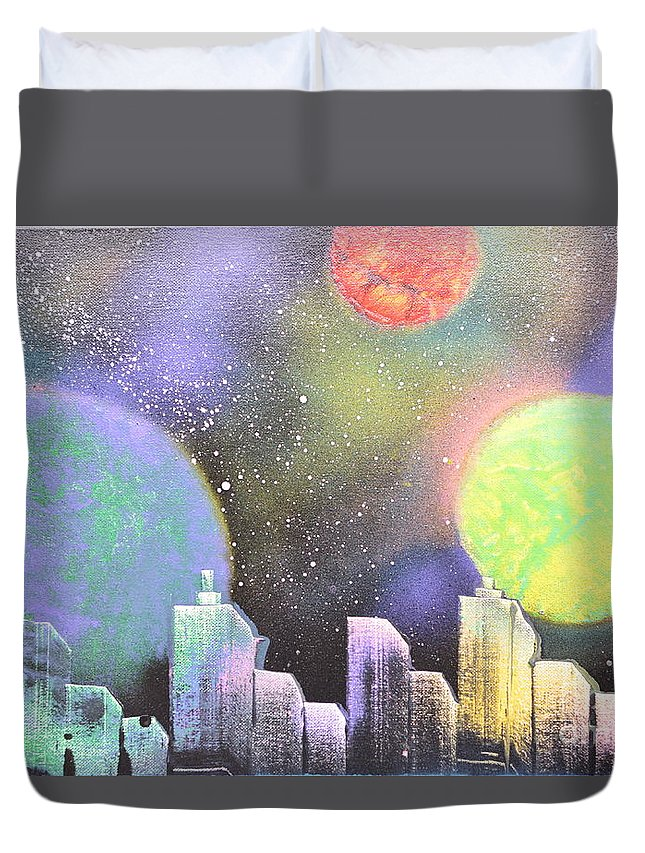 Planets Duvet Cover featuring the painting Colors Of The City by Zack Anderson
