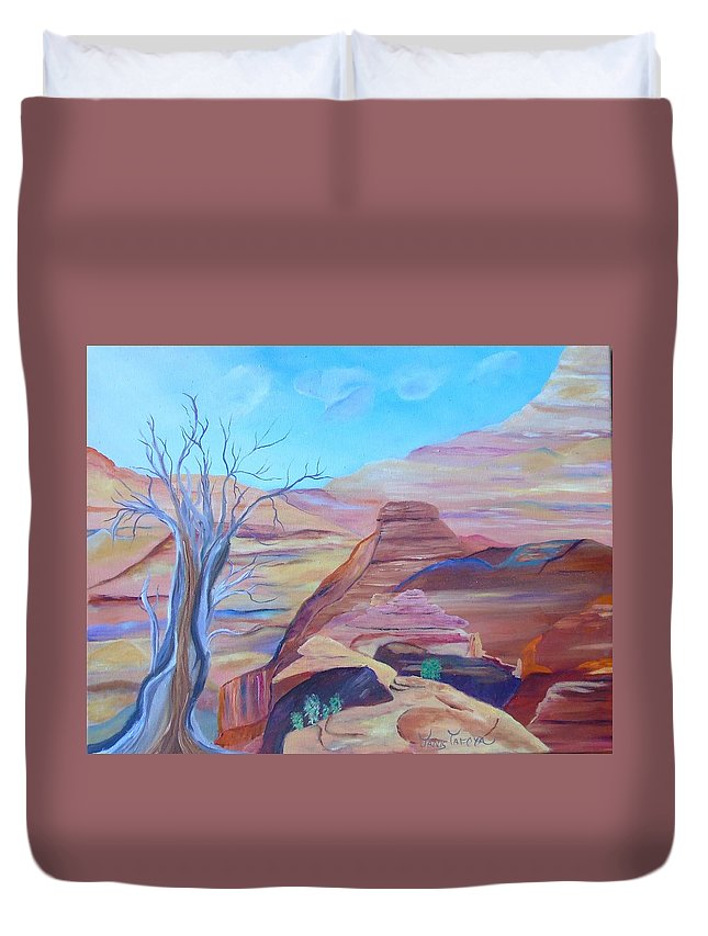 Southwest Duvet Cover featuring the painting Colors Of The Southwest by Janis Tafoya