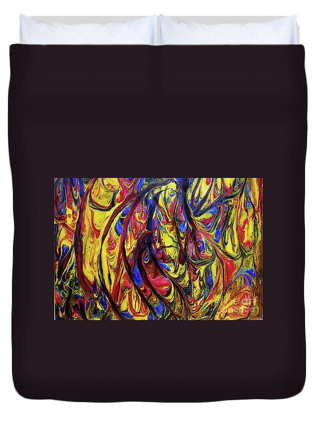 Art Duvet Cover featuring the painting Colors Of The Wind 1 by Nour Refaat