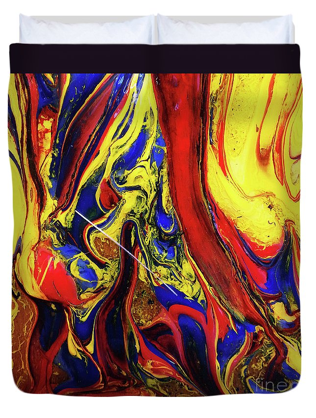 Art Duvet Cover featuring the painting Colors Of The Wind 3 by Nour Refaat