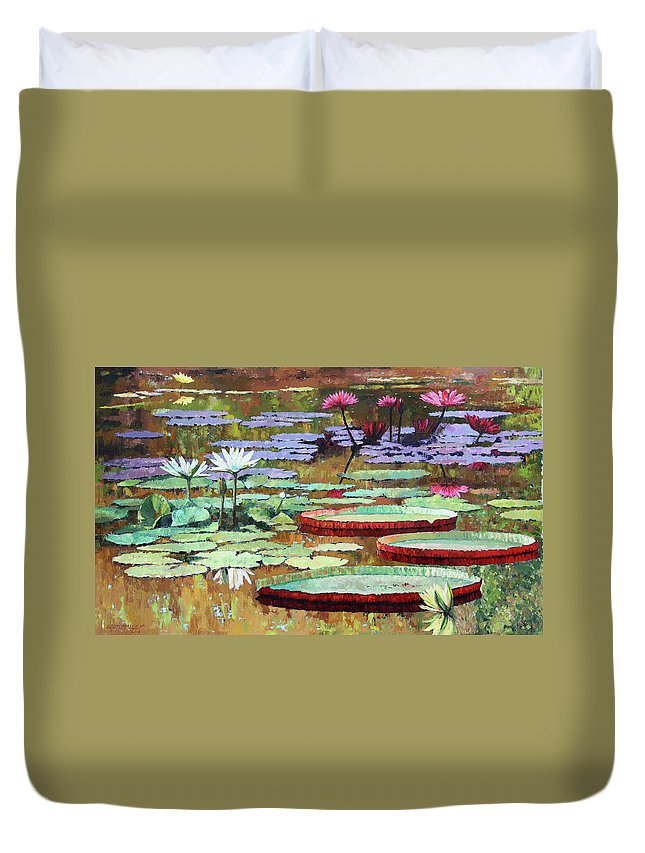 Garden Pond Duvet Cover featuring the painting Colors on the Lily Pond by John Lautermilch
