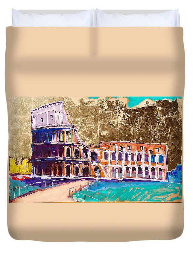 Rome Duvet Cover featuring the painting Colosseum by Kurt Hausmann