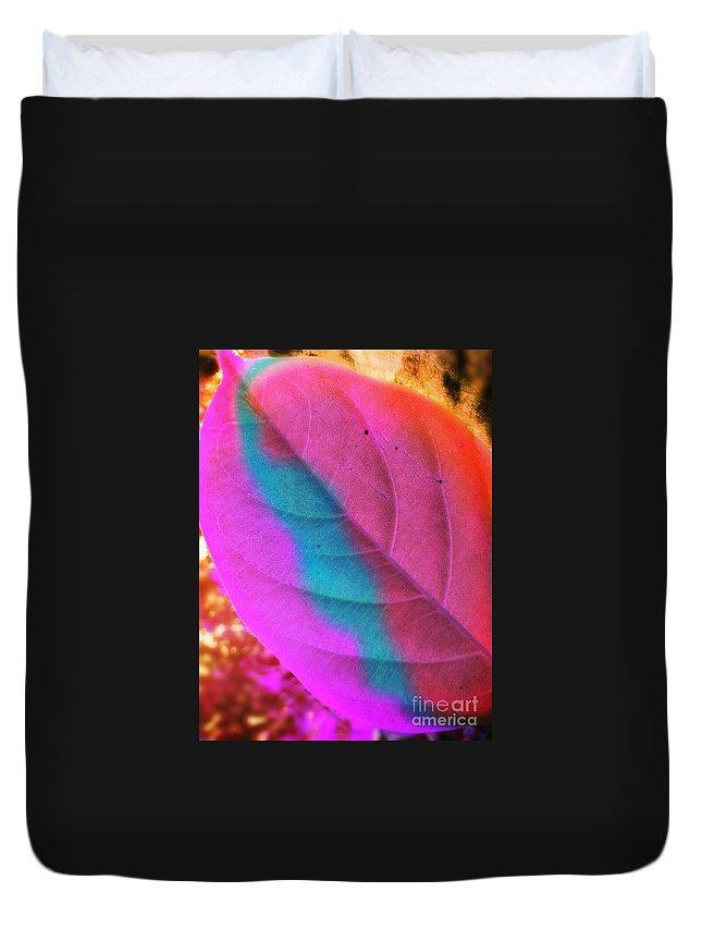 Leaf Duvet Cover featuring the digital art Colour Leaf by Arish V