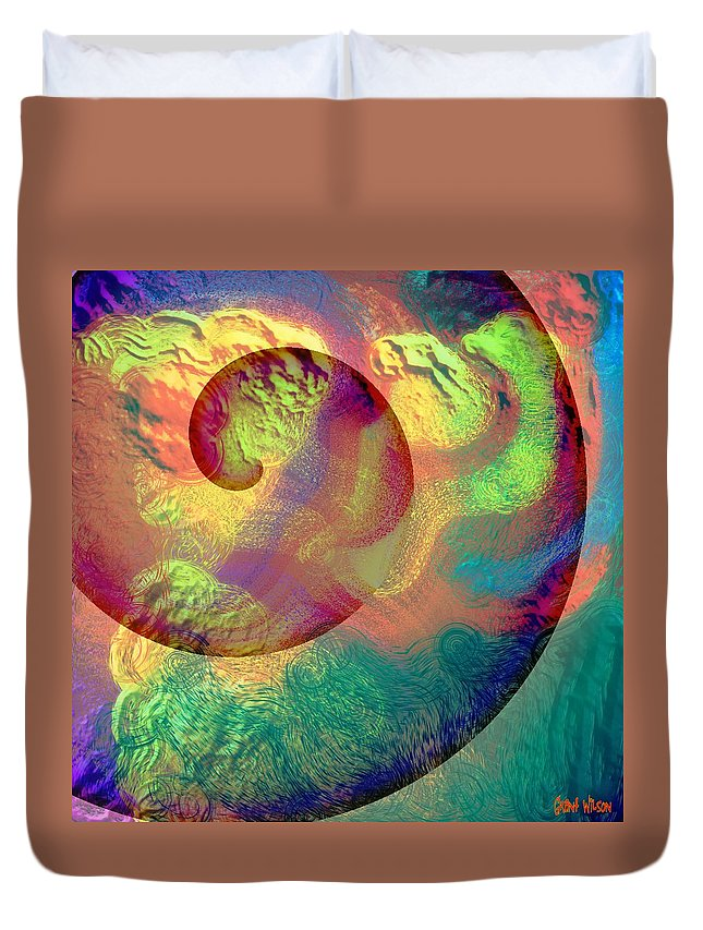 Abstract Duvet Cover featuring the digital art Colour Spiral by Grant Wilson