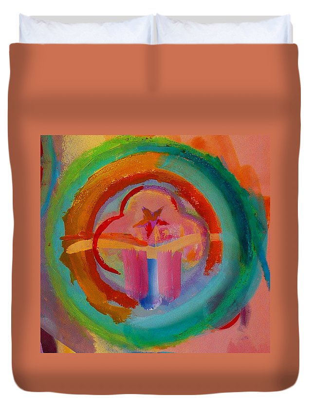 Logo Duvet Cover featuring the painting Colour States by Charles Stuart