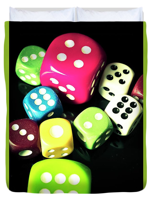 Casino Duvet Cover featuring the photograph Colourful Casino Dice by Jorgo Photography - Wall Art Gallery