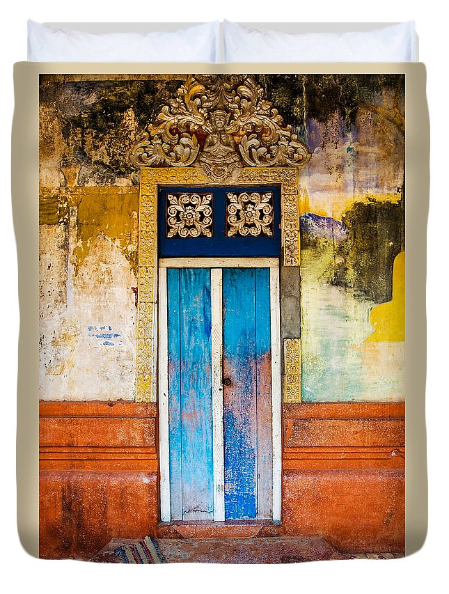 Cambodia Duvet Cover featuring the photograph Colourful Door by Dave Bowman
