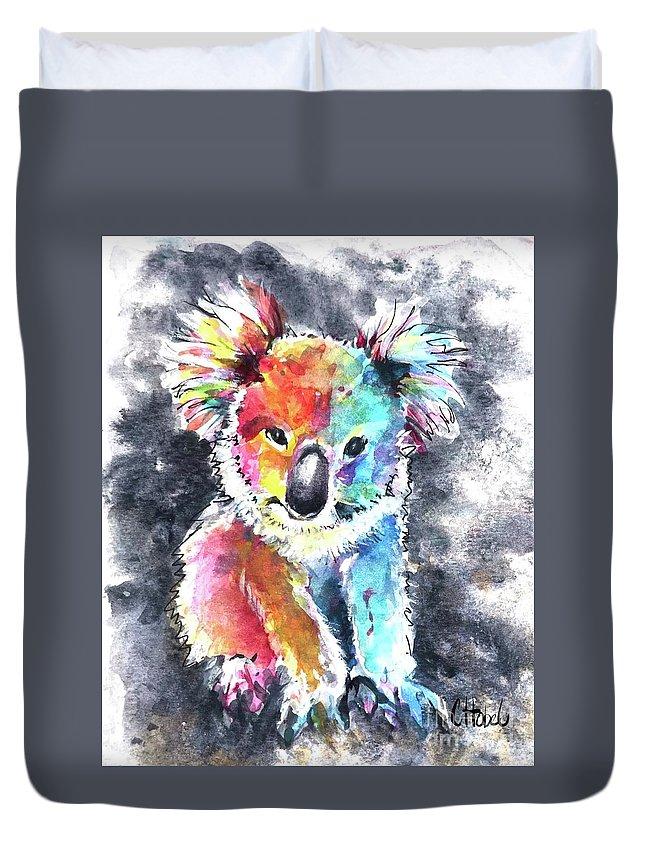 Koala Duvet Cover featuring the painting Colourful Koala by Chris Hobel