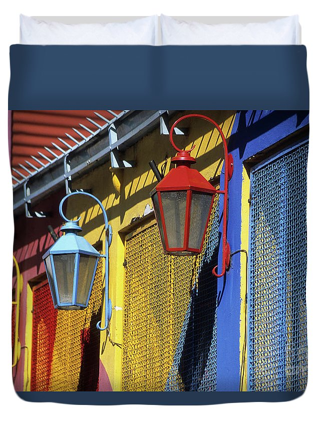 Buenos Aires Duvet Cover featuring the photograph Colourful Lamps La Boca Buenos Aires by James Brunker